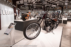 Raw Iron Choppers' Jesse Srpan's AMOUR 93 inch S&S Knucklehead in the What's the Skinny Exhibition (2019 iteration of the Motorcycles as Art annual series) at the Sturgis Buffalo Chip during the Sturgis Black Hills Motorcycle Rally. SD, USA. Friday, August 9, 2019. Photography ©2019 Michael Lichter.