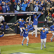 Kansas City Royals win the World Series and empty the dugout during the New York Mets Vs Kansas City Royals, Game 5 of the MLB World Series at Citi Field, Queens, New York. USA. 1st November 2015. Photo Tim Clayton