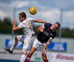Livingston Scott Pittman and Falkirk's Ross MacLean. half time : Falkirk 0 v 1 Livingston, BetFred Cup game played 13/7/2019 at The Falkirk Stadium.
