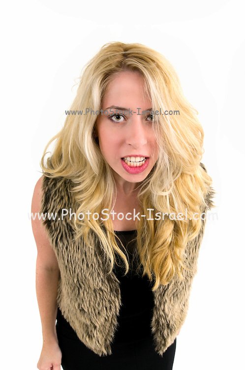 Angry young blond woman
