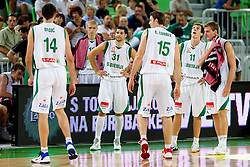 Mirza Begic of Slovenia, Saso Ozbolt of Slovenia, Erazem Lorbek of Slovenia, Goran Dragic of Slovenia and Zoran Dragic of Slovenia during friendly basketball match between National teams of Slovenia and Montenegro of Adecco Ex-Yu Cup 2011 as part of exhibition games before European Championship Lithuania 2011, on August 7, 2011, in Arena Stozice, Ljubljana, Slovenia. Slovenia defeated Crna Gora 86-79. (Photo by Vid Ponikvar / Sportida)