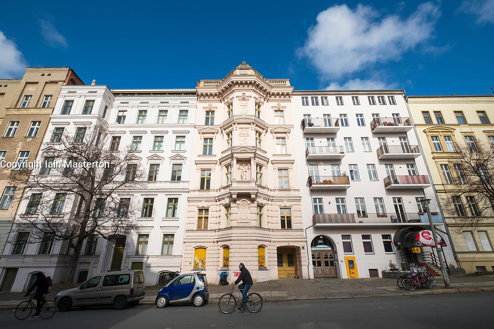 Historic renovated apartment buildings in gentrified district of  Prenzlauer Berg in Berlin, Germany