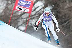 20.01.2011, Tofana, Cortina d Ampezzo, ITA, FIS World Cup Ski Alpin, Lady, Cortina, Abfahrt 2. Training, im Bild Blick von den Tribühnen im Bild Marie Marchand-Arvier (FRA, #21) // Marie Marchand-Arvier (FRA) during FIS Ski Worldcup ladies downhill second training at pista Tofana in Cortina d Ampezzo, Italy on 20/1/2011. EXPA Pictures © 2011, PhotoCredit: EXPA/ J. Groder