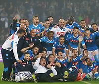 Esultanza della Formazione del Napoli, celebration Line Ups Team <br /> Napoli 14-05-2016 Stadio San Paolo<br /> Football Calcio Serie A 2015/2016 Napoli - Frosinone<br /> Foto Cesare Purini / Insidefoto