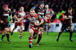Gloucester Flanker (#7) Matt Kvesic in action during the second half of the match - Photo mandatory by-line: Rogan Thomson/JMP - Tel: 07966 386802 - 15/12/2013 - SPORT - RUGBY UNION - Kingsholm Stadium, Gloucester - Gloucester Rugby v Edinburgh Rugby - Heineken Cup Round 4.