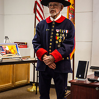 George C. Garcia of the Sons of the American Revolution begins his lecture, Hispanic Contribution to the American Revolution, in a full replica 1700's Spanish Soldiers' uniform Thursday night at the Octavia Fellin Public Library.