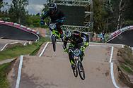 #566 (OQUENDO ZABALA Carlos Mario) COL, and #972 (RACINE Romain) FRA at the 2016 UCI BMX Supercross World Cup in Santiago del Estero, Argentina