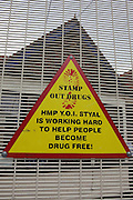 A sign for visitors on the way in to the prison. HMP Styal, Wilmslow, Cheshire