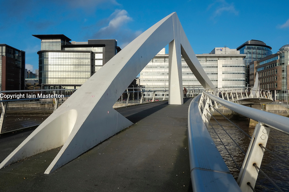 Tradeston Footbridge across River Clyde in Glasgow Scotland UK