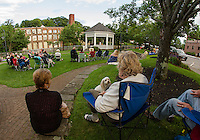 "Marilyn Summers, ""Cody"" and Alvina Heine of Meredith enjoy Thursday's Concert by the River in Rotary Park listening to the soulful sounds of Sharon ""Sugar"" Jones.  (Karen Bobotas/for the Laconia Daily Sun)"