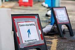 Edinburgh, Scotland, UK. 12 March, 2020. Signs for Coronavirus testing bay at NHS Lothian Western General Hospital in Edinburgh today. Iain Masterton/Alamy Live News