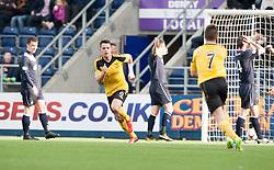 Livingston Mark McNulty cele scoring their goal.<br /> half time : Falkirk 0 v 1 Livingston, Scottish Championship game today at The Falkirk Stadium.<br /> © Michael Schofield.