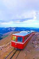 Pikes Peak Cog Railway train starting down from the top of Pikes Peak, Colorado Springs, Colorado USA