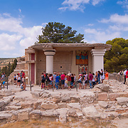 Tourists near the ruins of Minoan Knossos palace