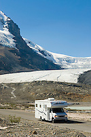 RV on the Icefields Parkway, Mount Andromeda 3450m (11319ft.) in the distance, Jasper National Park Alberta Canada