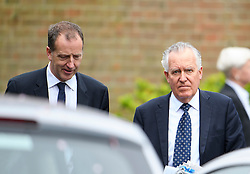 © London News Pictures. 11/05/2016. London, UK. TOM BALDWIN (left), former advisor to Ed Miliband and former Labour Party politician LORD PETR HAIN attend the funeral of Maurice Peston, Baron Peston at Golders Green, north London. Baron Peston, who died  in April aged 85,  was the father of journalist and ITV News Political Editor, Robert Peston. Photo credit: Ben Cawthra/LNP