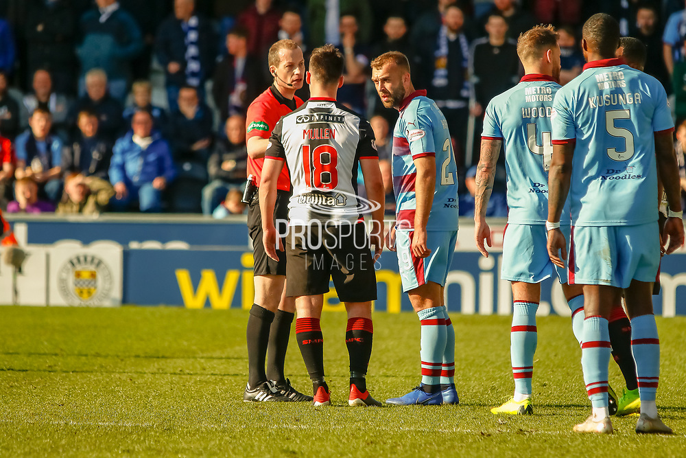 Referee Willie Collum during the Ladbrokes Scottish Premiership match between St Mirren and Dundee at the Paisley 2021 Stadium, St Mirren, Scotland on 30 March 2019.
