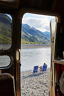 A happy camper's view from the Knik River bank near Palmer, Alaska.