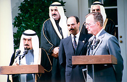 File photo of U.S. president George Bush Kuwait's Emir Sheikh Jaber Al Ahmad Al Sabah who just died in Kuwait City on January 15, 2006. Sheikh Jaber, aged 77, was ruling Kuwait since 1978. Photo by Balkis Press/ABACAPRESS.COM