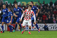 Bojan Krkic of Stoke City celebrates after scoring his teams 1st goal from the penalty spot. Premier league match, Stoke City v Leicester City at the Bet365 Stadium in Stoke on Trent, Staffs on Saturday 17th December 2016.<br /> pic by Chris Stading, Andrew Orchard sports photography.