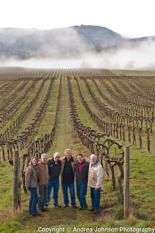 Oregon winemakers - Lynn Penner-Ash, Ken Wright, Terry Casteel, Bethel Heights; Laurant Montalieu, Solena: Steve Doerner, Cristom; and Ted Casteel, Bethel Heights, at Bethel Heights Vineyard in Eola Hills, Willamette Valley, Oregon