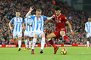 Dominic Solanke of Liverpool (r) looks to go past Florent Hadergjonaj of Huddersfield Town. Premier League match, Liverpool v Huddersfield Town at the Anfield stadium in Liverpool, Merseyside on Saturday 28th October 2017.<br /> pic by Chris Stading, Andrew Orchard sports photography.
