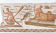 Roman mosaic depicting fishermen. The fisherman on the left is about to spear an octopus with a trident. The fisherman in the middle is pushing his boat which had a rod and line on the front of it. From the reign of Emperor Gallienus 260-280 AD. Excavated from The House of Dionysus and Ulysses, Dougga. Roman mosaics from the north African Roman province of Africanus .  Inv 2384, Bardo Museum, Tunis, Tunisia. .<br /> <br /> If you prefer to buy from our ALAMY PHOTO LIBRARY  Collection visit : https://www.alamy.com/portfolio/paul-williams-funkystock/roman-mosaic.html - Type -   Bardo    - into the LOWER SEARCH WITHIN GALLERY box. Refine search by adding background colour, place, museum etc<br /> <br /> Visit our ROMAN MOSAIC PHOTO COLLECTIONS for more photos to download  as wall art prints https://funkystock.photoshelter.com/gallery-collection/Roman-Mosaics-Art-Pictures-Images/C0000LcfNel7FpLI