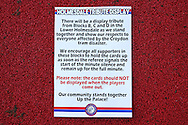 a sign is placed up giving Instructions for the Crystal Palace Ultra fans to show respect for the Croydon tram disaster. Premier League match, Crystal Palace v Manchester city at Selhurst Park in London on Saturday 19th November 2016. pic by John Patrick Fletcher, Andrew Orchard sports photography.