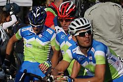 Borut Bozic, Janez Brajkovic and Gorazd Stangelj (Slovenia) during the Men's Elite Road Race at the UCI Road World Championships on September 25, 2011 in Copenhagen, Denmark. (Photo by Marjan Kelner / Sportida Photo Agency)