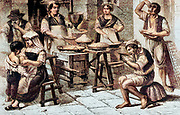 Machine colorized with Artificial Intelligence (AI) Macaroni Shop at Naples 1872 engraving on wood From The human race by Figuier, Louis, (1819-1894) Publication in 1872 Publisher: New York, Appleton