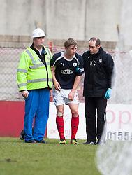 Falkirk's Stephen Kingsley goes off injured..Hamilton 1 v 2 Falkirk, Scottish Cup quarter-final, Saturday, 2nd March 2013..©Michael Schofield.