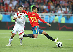 KALININGRAD, June 25, 2018  Thiago (R) of Spain vies with Mbark Boussoufa of Morocco during the 2018 FIFA World Cup Group B match between Spain and Morocco in Kaliningrad, Russia, June 25, 2018. (Credit Image: © Li Ming/Xinhua via ZUMA Wire)