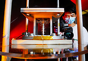 University of Illinois Chicago College of Engineering MIE PhD student Jingwei Wu uses an infrared camera to record boiling water and temperature distribution affected by the bubbles in professor Alexander Yarin's lab in Chicago