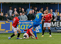 Football - 2021 / 2022 Emirates FA Cup - First Round Qualifying - Bootle vs. FC United of Manchester - Berry Street Garage Stadium - Saturday 4th September 2021<br /> <br /> Jordan Wynne of Bootle scores from the edge of the area to make it 2-2 in the 90th minute to force a replay, at the Berry Street Garage Stadium.<br /> <br /> COLORSPORT/Alan Martin
