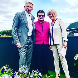 """Boris Becker releases a photo on Instagram with the following caption: """"Wonderful start of the day with #billiejeanking #suebarker @bbcsport @wimbledon"""". Photo Credit: Instagram *** No USA Distribution *** For Editorial Use Only *** Not to be Published in Books or Photo Books ***  Please note: Fees charged by the agency are for the agency's services only, and do not, nor are they intended to, convey to the user any ownership of Copyright or License in the material. The agency does not claim any ownership including but not limited to Copyright or License in the attached material. By publishing this material you expressly agree to indemnify and to hold the agency and its directors, shareholders and employees harmless from any loss, claims, damages, demands, expenses (including legal fees), or any causes of action or allegation against the agency arising out of or connected in any way with publication of the material."""