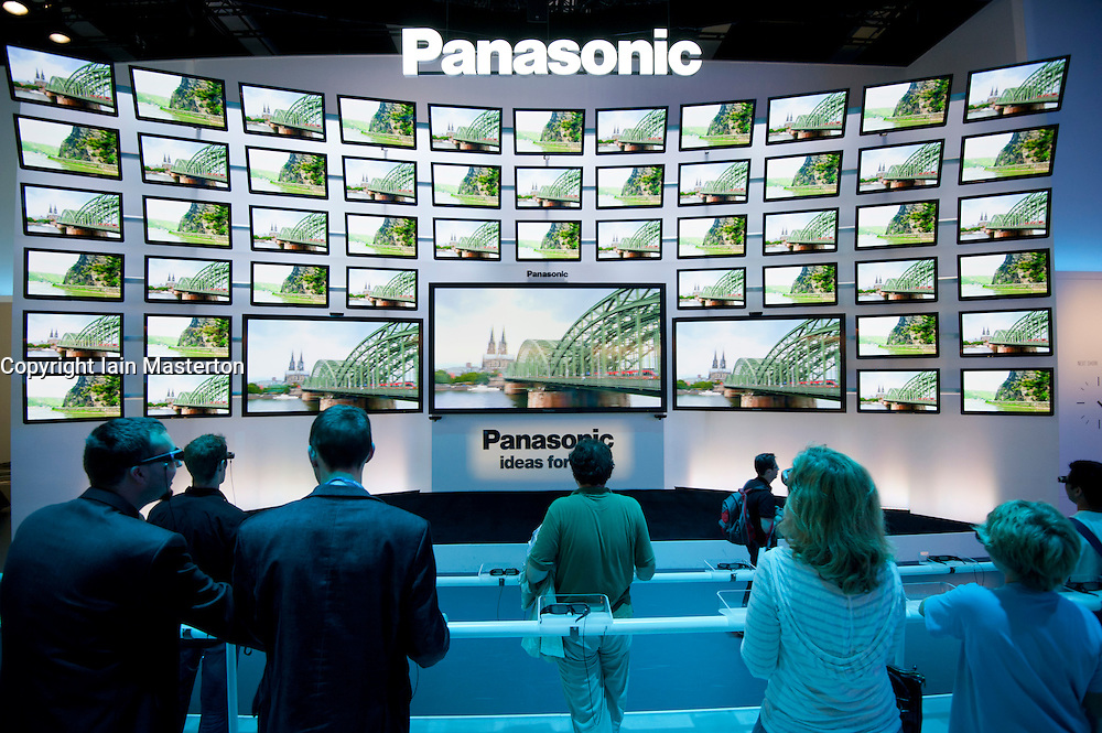 Many 3D televsion screens at Panasonic stand at IFA consumer electronics trade fair in Berlin Germany 2011