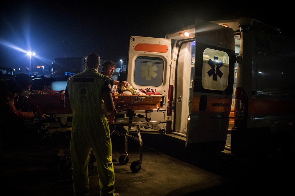 June 29th, 2017, Central Mediterranean. Finally the patient got to an ambulance. Arrival to the port of Lampedusa. Evacuation of Samuel Osei, a 36-year-old man from Ghana severely sick after being rescued in the sea. NGO Proactiva Open Arms in their 20th rescue mission in the Central Mediterranean Sea on board of Golfo Azzurro vessel (photo Edu Bayer)
