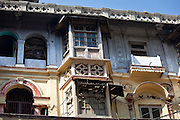 Old colonial architecture at Khari Baoli in Old Delhi, India