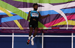 Bahamas' Jamal Wilson in action during the Men's High Jump during day one of the 2018 IAAF Indoor World Championships at The Arena Birmingham, Birmingham. PRESS ASSOCIATION Photo. Picture date: Thursday March 1, 2018. See PA story ATHLETICS Indoor. Photo credit should read: Simon Cooper/PA Wire.
