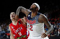 United States´s Cousins (R) and Serbia´s Kalinic during FIBA Basketball World Cup Spain 2014 final match between United States and Serbia at `Palacio de los deportes´ stadium in Madrid, Spain. September 14, 2014. (ALTERPHOTOSVictor Blanco)