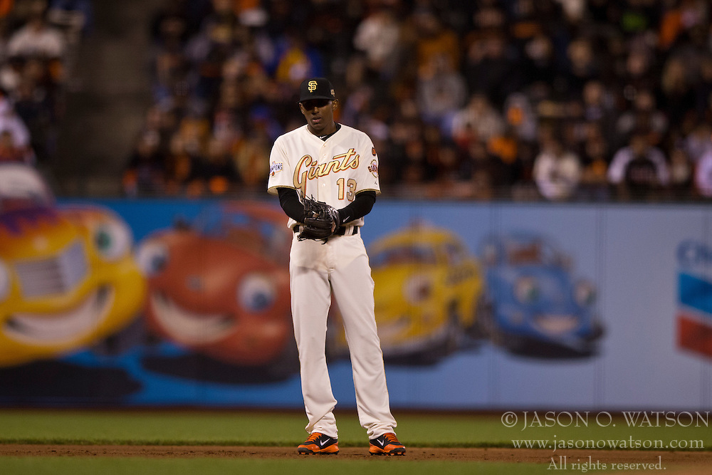 SAN FRANCISCO, CA - APRIL 18:  Joaquin Arias #13 of the San Francisco Giants stands on the field against the Arizona Diamondbacks during the ninth inning at AT&T Park on April 18, 2015 in San Francisco, California.  The San Francisco Giants defeated the Arizona Diamondbacks 4-1. (Photo by Jason O. Watson/Getty Images) *** Local Caption *** Joaquin Arias