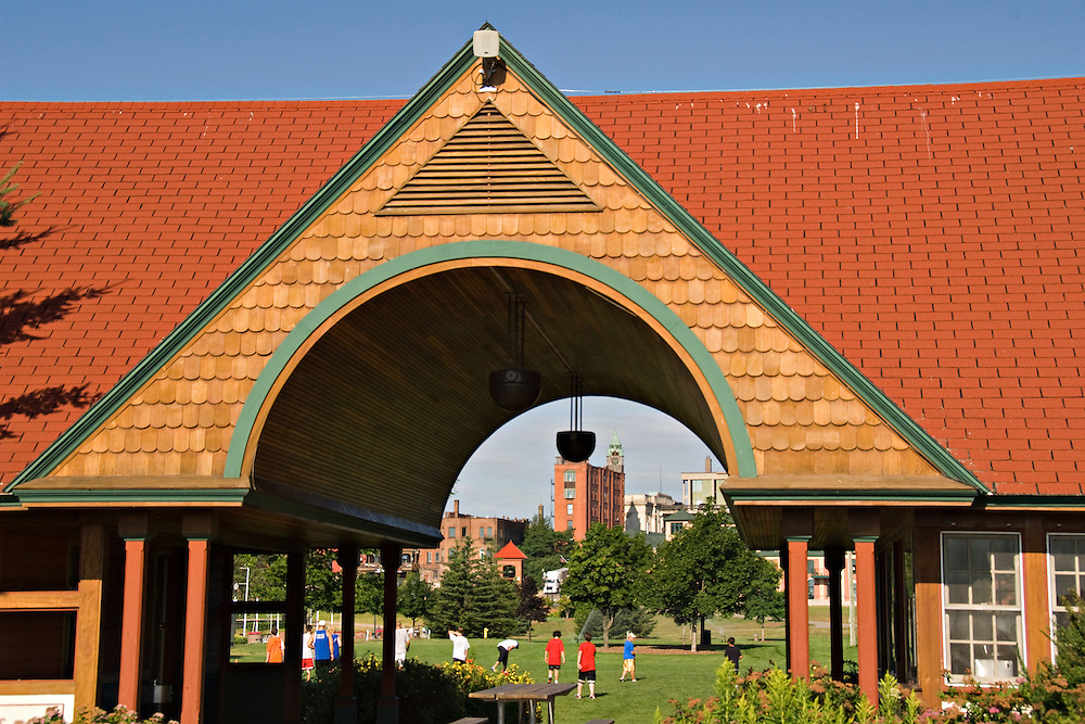Mattson Lower Harbor Park pavilion and Savings Bank building of downtown Marquette Michigan.