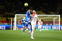 Yassine BENZIA / Andrea RAGGI - 01.02.2015 - Monaco / Lyon - 23eme journee de Ligue 1 -<br />Photo : Eric Gaillard / Icon Sport