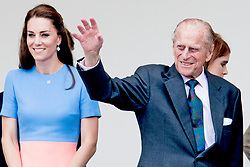 Buckingham Palace has announced Prince Philip, The Duke of Edinburgh, has passed away age 99 - FILE - The Duchess of Cambridge with Duke of Edinburgh in the Royal Box for the Patron's Lunch in The Mall, central London, in honour of the Queen's 90th birthday. The Queen's grandson Peter Phillips has masterminded the street party for 10,000 people, to mark the monarch's patronage of more than 600 charities and organisations. London, UK, on Sunday June 12, 2016. Photo by Robin Utrecht/ABACAPRESS.COM
