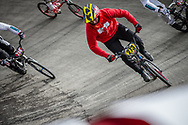 #273 during practice at the 2018 UCI BMX World Championships in Baku, Azerbaijan.