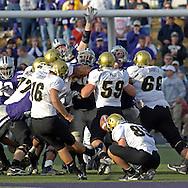 Colorado kicker Mason Crosby (16) kicks a 50-yard field goal with six seconds left in the game to beat Kansas State 23-20 at KSU Stadium in Manhattan, Kansas, October 29, 2005.