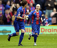 Photo: Olly Greenwood.<br />Crystal Palace v Crewe Alexander. Coca Cola Championship. 15/04/2006. Crystal Palace's Andrew Johnson celebrates scoring with Mark Hudson'