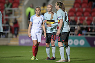 Fara Williams (England) and Julie Biesmans (Belgium) during the Euro 2017 qualifier between England Ladies and Belgium Ladies at the New York Stadium, Rotherham, England on 8 April 2016. Photo by Mark P Doherty.