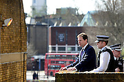 © Licensed to London News Pictures. 25/04/2013. London, UK On the day UK crime are reported at the lowest level for 30 years Deputy Prime Minister Nick Clegg (centre) visits Thrayle House, Stockwell Park Estate in Brixton with Jeremy Browne, Minister for Crime Prevention, to meet with police, residents and community workers to see how crime is being tackled in the area, today 25th April 2013.. Photo credit : Stephen Simpson/LNP