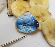 New Impossibly Tiny Landscapes Painted on Food<br /> <br /> From onion peels to kiwi seeds or even bits of chocolate, it seems any canvas is sufficient for Turkish artist Hasan Kale  as long as it meets the requirement of being incredibly tiny. Hasan delights in the challenge of depicting landscapes of his native Istanbul in the most infinitesimal of brush strokes, a feat that requires the use of a magnifying glass to appreciate the details of each piece. While the longevity of each object he paints is questionable, the steadiness of his hand is impressive to witness. <br /> ©Hasan Kale/Exclusivepix